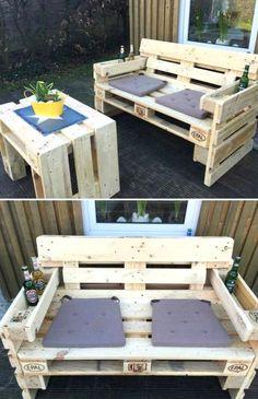 Wooden Pallet Projects, Wooden Pallets, Pallet Ideas, 1001 Pallets, Recycled Pallets, Ideas Palets, Pallet Crafts, Pallet Garden Furniture, Balcony Furniture