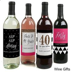 Wine Gifts - Chic 40th Birthday - Pink, Black and Gold - Wine Bottle Labels Birthday Gift for Women - Set of 4