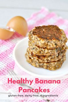 Healthy Banana Pancakes | These healthy banana egg pancakes are going to be your new favorite healthy breakfast! It's only 250 calories for the whole stack and they're low FODMAP, gluten free and dairy free! #Recipe #Healthy #Breakfast #LowFODMAP #GlutenFree #DairyFree #GF #DF #HealthyRecipe #BreakfastRecipe #Pancakes #PancakeRecipe #LowFODMAPRecipe #GlutenFreeRecipe #DairyFreeRecipe  #HealthyBreakfast #HealthyPancakes #Brunch #BrunchRecipe #HealthyBrunch Pancake Recipe For Kids, Dessert Recipes For Kids, Fruit Recipes, Snack Recipes, Pancake Recipes, Banana Recipes, Healthy Sweet Snacks, Healthy Meals For Kids, Healthy Breakfast Recipes