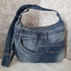 Crossbody denim bag Hobo bag of jeans Casual denim purse | Etsy
