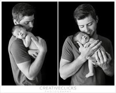 Black and white portraits Daddy with his new baby girl www.creativeclicksphotographyblog.com