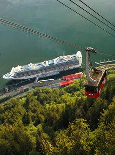 View of the cruise ship port from the Mount Roberts Tramway, Juneau, Alaska