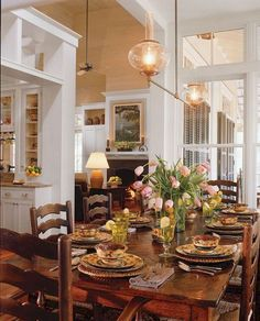Historical Concepts dining room in Coastal Living. Historical Concepts dining room in Coastal Living. French Country Dining Room, French Country Kitchens, French Country Farmhouse, French Country Bedrooms, French Country Style, French Country Decorating, Farmhouse Design, Country Blue, French Cottage