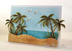 Card Making Ideas | Paper Crafts | Handmade Greeting Cards | Beach Card Ideas Impression Obsession Palm Trees.  Check out my blog post to see all the details for making this fun beach card.
