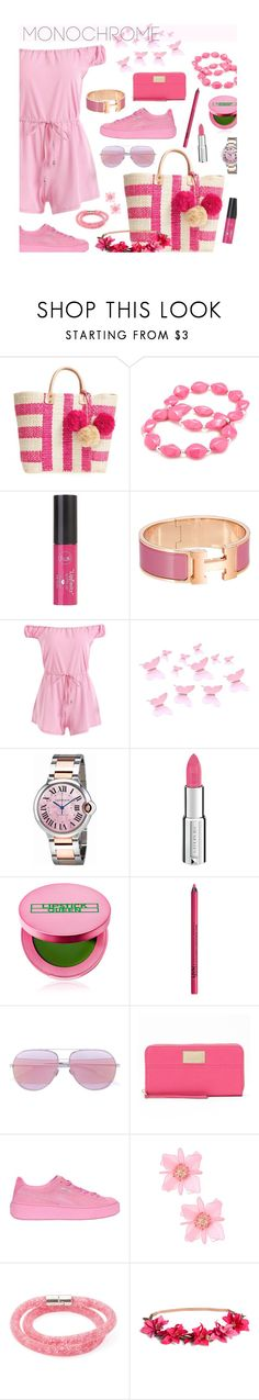 """#monochromepink"" by hellodollface ❤ liked on Polyvore featuring Mar y Sol, Kim Rogers, Charlotte Russe, Cartier, Givenchy, Lipstick Queen, NYX, Christian Dior, Juicy Couture and Puma"
