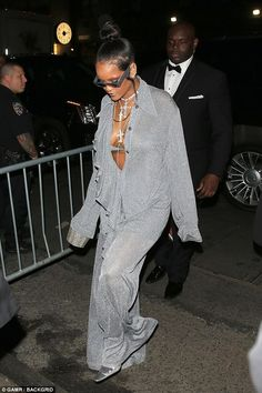 celebrity style superstar: Rihanna was last to arrive at the Met Gala afterparty which she hosted at Up And Down on Monday night, wearing a silver oversized co-ord Mode Rihanna, Rihanna Riri, Rihanna Style, Fashion Killa, Look Fashion, Fashion Outfits, Womens Fashion, Looks Rihanna, Popsugar