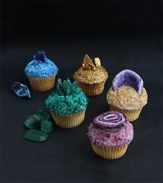 DIY gemstone, geode and agate cupcakes.