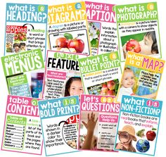 Non-fiction posters that are perfect for any primary classroom! Kindergarten Anchor Charts, Kindergarten Language Arts, Reading Anchor Charts, Reading Workshop, Reading Skills, Teaching Reading, Teaching Ideas, Guided Reading, Learning
