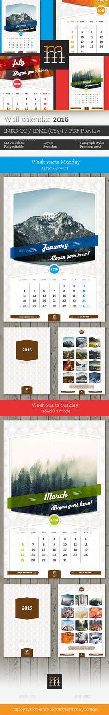 Wall Calendar 2017 Calendar 2017, Template and Walls - indesign calendar template