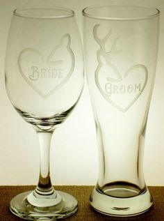 Country Doe and Buck Beer and Wine Glasses for Bride and Groom | Country Style Toasting Flutes | Buck and Doe Wedding Glasses by JuliesHeart on Etsy - $24.95 set with names and date on back $28.95 for the set.
