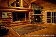 Love the walls Log Cabin Living, Log Cabin Homes, Cottage Living, Cozy Living Rooms, Timber Frame Homes, Lake Cabins, Interior Photo, Southern Living, Building A House