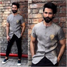 Yay or Nay? Shahid Kapoor in this grey satin shirt with black pants Mens Indian Wear, Indian Groom Wear, Indian Men Fashion, Mens Fashion Suits, Trendy Mens Fashion, Fashion Pants, Mens Suits, Wedding Dresses Men Indian, Wedding Dress Men