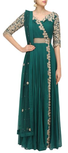 489886: Green  color family  stitched Anarkali Suits .