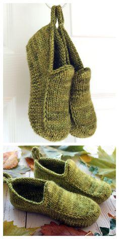 Knit Slippers Free Pattern, Crochet Slipper Pattern, Knitted Slippers, Knit Or Crochet, Baby Boy Knitting Patterns, Crochet Patterns, Easy Knitting, Knitting Socks, Knitting Accessories