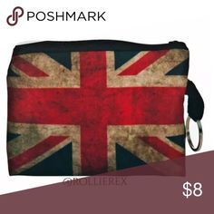 Faded British Flag Bag Material: Polyester  Closure type:Zipper  Size: 12cm(L)*9.5(H)  All dimensions are measured by hand, there may be 2-3 cm deviations Bags Mini Bags