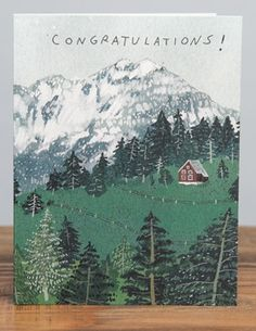 Red Cabin | Red Cap Cards | Illustrated greeting card by Becca Stadtlander #mountains #forest