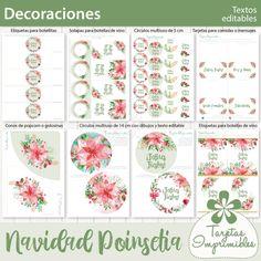 Navidad Poinsetia kit de decoraciones imprimibles   Tarjetas Imprimibles Superga, Bullet Journal, Welcome Signs, Printable Cards, Napkin Holders, Card Designs