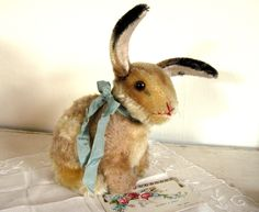 Vintage Steiff Mohair Bunny Rabbit Antique Toy Stuffed Animal with Swivel Head by Somethingcharming on Etsy https://www.etsy.com/listing/205109554/vintage-steiff-mohair-bunny-rabbit