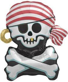 Jolly Roger Air Fill Mini, skull balloon, pirate balloon, pirate party