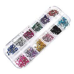 Kaifina 3000PCS 12-Color 2mm Wheel Nail Art Glitter Tips Rhinestone Decorations *** To view further for this item, visit the image link.