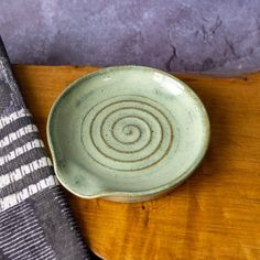 Rustic Spoon Rest in Green Glaze with Spiral Marks Ladle | Etsy Rustic Spoons, Wooden Spoons, Incense Holder, Incense Sticks, Different Textures, Ceramic Planters, Stoneware Clay, Spoon Rest, Makers Mark