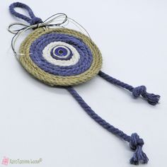 Μπλε Boho γούρι με σχοινί και κεραμικό μάτι Boho, Crochet Earrings, Jewelry, Jewlery, Jewerly, Schmuck, Bohemian, Jewels, Jewelery
