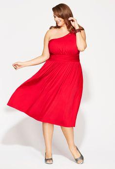 Plus Size Red One Shoulder Dress | Plus Size Dresses | Avenue