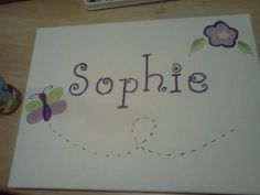 Painted name on canvas