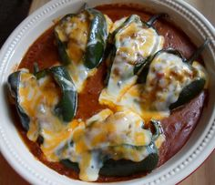 Happier Than A Pig In Mud: Beef Enchilada Stuffed Poblanos (for low carb enchilada sauce see Maria Emmericks Art of Savory)