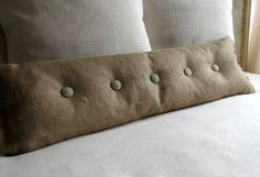 36 inch Burlap with SAGE Burlap buttons sofa or long bed pillow on Etsy, $65.00