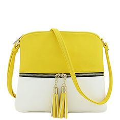 New Trending Cross Body Bags: Lightweight Medium Crossbody Bag with Tassel (Yellow/White). Lightweight Medium Crossbody Bag with Tassel (Yellow/White)   Special Offer: $16.95      211 Reviews This light weight medium size crossbody bag makes easy to organize your everyday items.10″ (W) x 9″ (H) x 0.5″ (D)Zipper closure  front zipper is a functional...