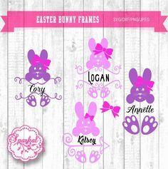 Easter Monogram SVG Frames Easter Clipart, Bunny Monogram Frame Cutting file Svg,Dxf,Png Cricut design Space, Silhouette Studio Easy Weed by SparkalSVGDesigns on Etsy https://www.etsy.com/listing/227433379/easter-monogram-svg-frames-easter