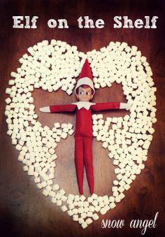 Elf on the Shelf ideas – Snow angel with marshmallows