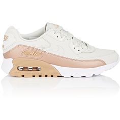 Nike Women's Women's Air Max 90 Ultra SE Leather Sneakers ($125) ❤ liked on Polyvore featuring shoes, sneakers, white, white low tops, white sneakers, leather sneakers, lace up shoes and leather lace up sneakers