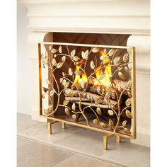 Bird Branch Fireplace Screen ($545) ❤ liked on Polyvore featuring home, home decor, fireplace accessories, gold, handmade home decor, branches home decor and bird home decor