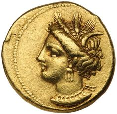 The Hannibal Collection of Carthaginian Coins / ZEUGITANIA, Carthage, (c.350-320 B.C.), gold stater...Click VISIT to see 10,000+ Gold Coins at MAD On Collections. Please feel free to pin or share this coin. #GoldCoins