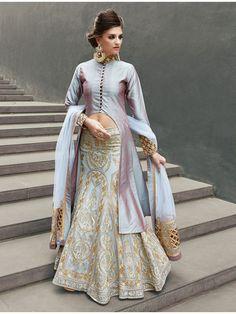 Graceful Ice Blue Designer Wedding Lehenga Choli