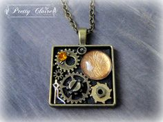 Steampunk necklace, steampunk handmade pendant, square pendant, unique gift, unique jewelry, special necklace by PrettyClaire on Etsy Steampunk Necklace, Pendant Necklace, Etsy, Trending Outfits, Unique Jewelry, Handmade Gifts, Vintage, Kid Craft Gifts, Craft Gifts