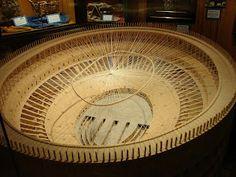 A replica made out of matchsticks of the Coliseum of Rome.
