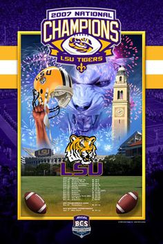 Rare LSU Tigers Football 2007 NCAA NATIONAL CHAMPIONS Commemorative Poster on eBay!