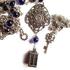 Time Lord Steampunk Tardis necklace set Doctor Who by Lumissa