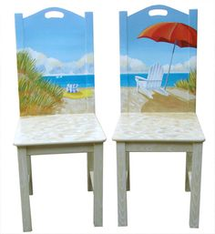painted beACH furniture Jacksonville beach | Beach seascape hand painted across 2 wood chairs.