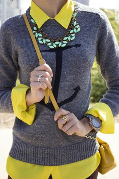 color contrast <3 statement necklace, mint green, #yellow #grey