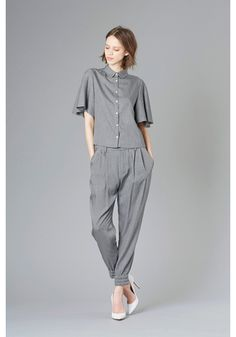 LE CIEL BLEU Flared sleeve shirt and relaxed tuck pants