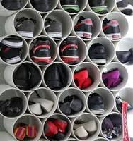 DIY Closet Organization DIY shoe rack made from inexpensive PVC pipe from cookie loves milk.
