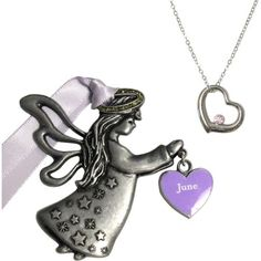 Gloria Duchin June Birthstone Angel Ornament and Necklace Set, Silver