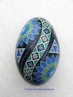 Pysanka, Real Ukrainian Easter Egg (goose egg shell) Pysanky. Hand made. Pisanki