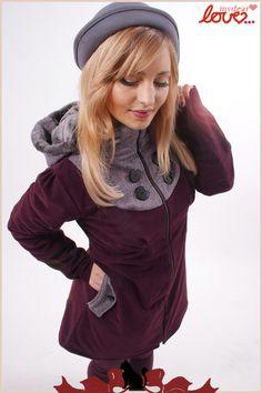 "Wintermantel ""Emilia"" Cord Weinrot, Tweed Glitzer von mydearlove® - shop auf DaWanda.com"