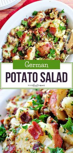 German Potato Salad A quick and easy recipe for lunch, dinner, or holiday parties! This is the Best German Potato Salad recipe that features tender red potatoes and bacon in a tangy dressing. It is also the perfect Thanksgiving side dish Easy Salad Recipes, Easy Salads, Side Dish Recipes, Bacon Recipes For Dinner, Potatoes On The Bbq, Recipes With Red Potatoes, Easy Recipes For Lunch, Potato Salad Recipes, Salads For Lunch