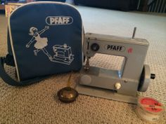 Vintage Pfaff Miniature Sewing Machine from Germany with Oil Can and Tape